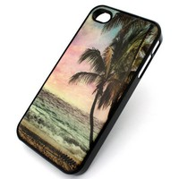 BLACK Snap On Case IPHONE 4 4S Plastic Cover - PARADISE PALM TREES BEACH OCEAN anchor sand get away hope boat sink