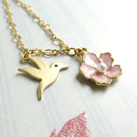 Gold Hummingbird Pink Enamel Flower Necklace, Floral Bird Necklace, Flower Bird Pendant Necklace