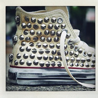 Studded Converse, Converse Cream high top with silver cone rivet studs by CUSTOMDUO on ETSY
