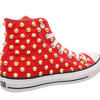 Studded Converse, Converse Red High Top with Gold Cone Studs by CUSTOMDUO on ETSY