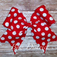 "3"" Red and White Polka Dot Cheer Bow"