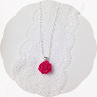 "Handmade Red ""Dainty Rose"" necklace with Silver Chain"