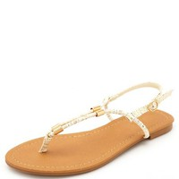 GOLD-PRINTED T-STRAP THONG SANDALS