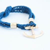 Navy Rope Anchor Bracelet