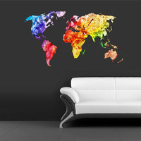 Full Color Wall Decal Mural Sticker Decor Art World Map Watercolor Water Paintings (col346)