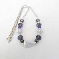 purple and grey beaded necklace handmade necklace for women beaded chain necklace fashion jewellery beaded jewellery silver chain gift