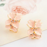 Flower leaves stud earrings h