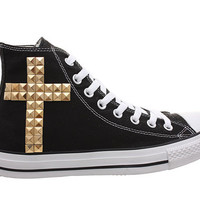 Studded Converse, Converse Black High Top with Gold Cross Pattern by CUSTOMDUO