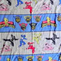 Vintage Power Rangers Twin Flat Sheet 1994