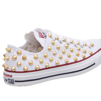 Studded Converse, Converse White Low Top with Gold Cone Studs by CUSTOMDUO on ETSY