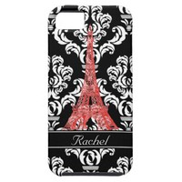 Paris Red Black Damask Personalized Case