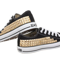 Studded Converse, Gold pyramid with converse Black low top by CUSTOMDUO