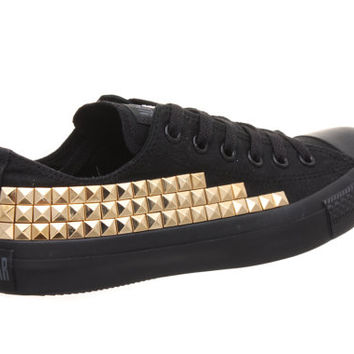 Studded Converse, Converse Low Top with Gold Pyramid Studs by CUSTOMDUO on ETSY