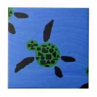 Hawaiian Style Decorative Sea Turtle Tile