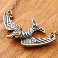 Flying Bird Necklace - antique bird, antique bronze bird, bird necklace, hand patina, vintage style