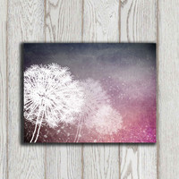 Dandelion poster print Printable Dandelion Wall art Purple Gray Home decor Bedroom Digital Modern Abstract Flower art INSTANT DOWNLOAD