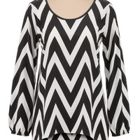 high-low chevron print tunic top