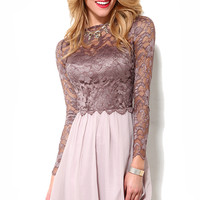 Little Mistress L/S Lace Bodice Dress