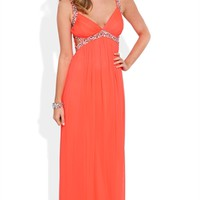 Long Prom Dress with Stone Straps and Waist with Side Cutouts