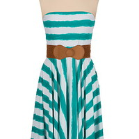 stripe belted tube dress