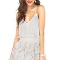 Floral Print Organza Elastic Waist Skirt in Off White