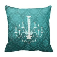 Vintage Chandelier Teal Damask Pillow