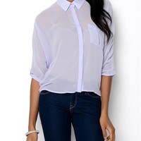 Dex Elongated Hem Sheer Blouse - 			        	Junior Girls and Boys Apparel & Accessories