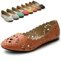 ollio Womens Shoes Ballet Flower Cute Cut-out Dress Flats