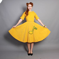 50s Yellow Novelty CHEER DRESS / Yellow Corduroy, Full Circle Skirt, xs