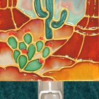 Arizona Red Rock Cactus Desert Night Light Decorative Southwestern Wall Art Southwest Decor Western Stained Glass Decorative Nightlight