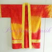 Batik Hapi - Japanese coat - beach or pool robe, kimono style, red orange