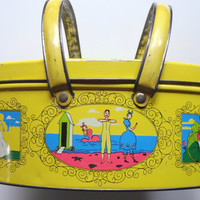 Vintage Folk Art Double Handle Metal Tin 1960s
