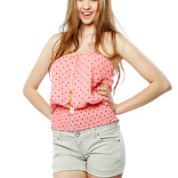 Papaya Clothing Online :: CUTY HEART DOTTED WAIST BAND TUBE TOP