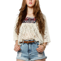 Papaya Clothing Online :: BOHEMIAN PEASANT LACY CAPE TOP