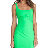 Susana Monaco Cross Gathered Tank Dress in Green