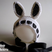 Bunny Bonnet Polka dot Easter Bunny Hat Newborn to Toddler