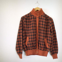 Vintage 70s Italian Checked Turtleneck Cardigan Sweater - Women's Rust and Black Button Up Domina Italy Hipster Cardi
