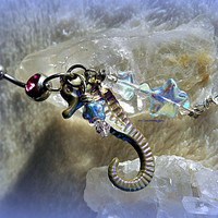 Navel Seahorse belly Ring, Barbell, Nautical, Fantasy, Stars, Ready to Ship, Bohemian