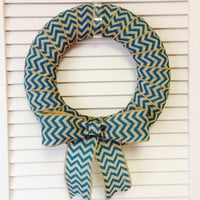 Modern Wreath, Spring Wreath, Teal Wreath, Turquoise Wreath, Blue Wreath, Chevron Wreath, Wreath for All Year, Burlap Wreath, Summer Wreath