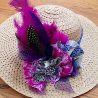 Kentucky Derby Hat, Feathered and Fabric hat, purple derby hat, fancy straw hat