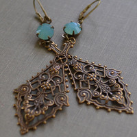 Pacific Opal Art Nouveau Brass Earrings, Antiqued Brass Stamped Pendant, Seafoam Rhinestone Lever Back Earrings