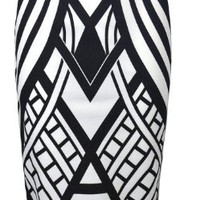 Womens Monochrome Weaved Pattern Pencil Midi Skirt (Sty) (4/6 (uk 8/10), black/white)