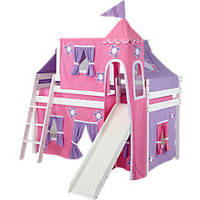 Pink Cottage Loft Bed w Slide and Tower