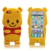 SaveGood Cartoon 3D Winnie the Pooh Soft Case Cover for Apple iphone 5 5s 5g
