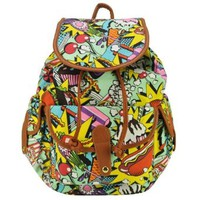 Multiple Color Comic Print Backpack Shoulder Bag Rucksack