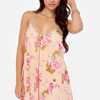 Ladylike You a Lot Beige Floral Print Dress