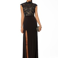EVENING DRESSES | Black Lace Bodice Slit Gown | Caché