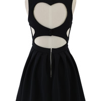 Sweetie Heart Cut Out Skater Dress in Black