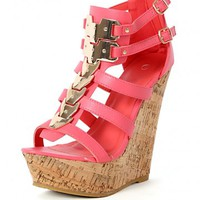 Bogota-04 Metallic Strappy Cork Wedges | MakeMeChic.com