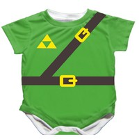 Handmade Zelda Onesuit - Sword Designed on Back! - Available 0-24 Months